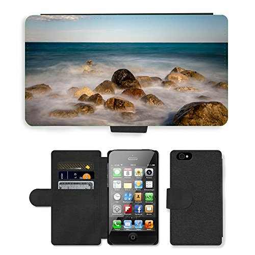 PU Leather Cover Custodia per // M00421619 Mer Pierres Vents Côte Pebble Beach // Apple iPhone 4 4S 4G
