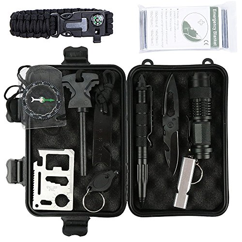 Marocon Survival Kit, 12 in 1 Emergency Survival Kit for Camping,Hiking,Biking,Climbing,Car includes Flashlight, Compass, Steel Knife, Whistle, Tactical Pen, Paracord Bracelet, Emergency Blanket (Emergency Light Steel)