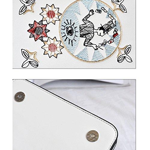 de Bolso de Verano Bordado Mini Cuadrado Mensajero de de Color de Paquete GuoFeng Pequeño de Nuevo Cadena Blanco Blanco Pequeño Hombro Bolsillo Bolso wXxW4qU8