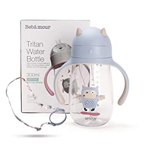 Bebamour Baby Sippy Cup with Straw for Baby and Toddler with Double Handle BPA Free,No Spill Safe Learner Bottle (300 ML,Blue)