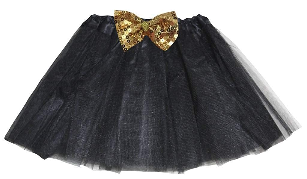 Petitebelle Gold Sequins Bow Solid Color Tulle Tutu Girl Skirt