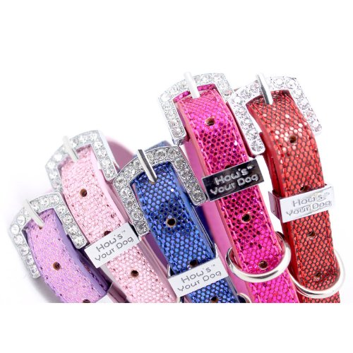 "HOW'S YOUR DOG Fab Glitter ""Name Me"" Personalized Collar for Dogs and Cats - Free Swarovski Crystal Letters included - Shocking Pink"