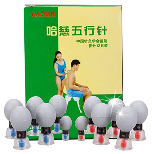 12 Cup Magnetic Cupping Therapy Set by Haci-Spa Quality Massage Home Treatment for Back Pain, Leg Pain and Nerve Pain caused by Sciatica, Herniated Disc and Spinal Stenosis