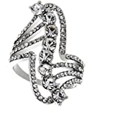 18K White Gold Plated Special Shape Crystal Ring Jewelry Gift CZ Rhinestone LOVE STORY (6.5#)