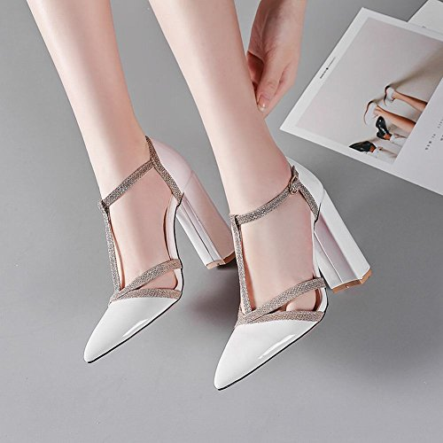 MissSaSa Damen Chunky High Heel t-Steg Leder-Pumps Weiß