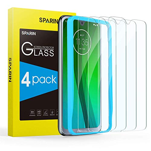 Moto G7 Screen Protector, [4 Pack] SPARIN Tempered Glass with Alignment Frame for Moto G7/Moto G7 Plus, Highly Responsive/Case Friendly/Bubble Free, 6.2 Inch