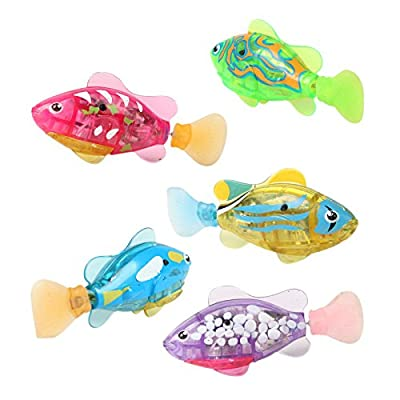 Baby toys Swimming led Light Fish Activated Battery Powered Robot Fish For Baby Bathing Toys : Baby