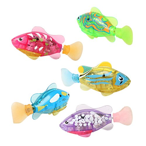 Robotic Fish - 1Pcs New Baby toys Swimming led Light Fish Activated Battery Powered Robot Fish For Baby Bathing Toys send by random CX874465 - Robot Fish