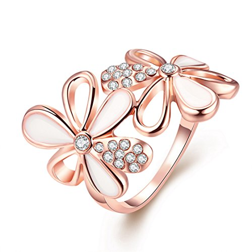 PSRINGS BL Beautiful Rings Rose Gold Plated White Enamel Inlaid Crystal Double Flowers Rings R5 8.0 - Ca3 Crystal