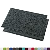MAYSHINE 16x24 inches Non-Slip Bathroom Rug Shag Shower Mat Machine-Washable Bath mats with Water Absorbent Soft Microfibers, 2 Pack, Dark Gray