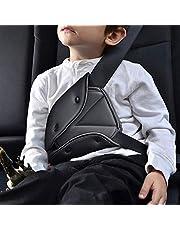 Cheelom Cinturón de seguridad para niños,Seguridad Triángulo posicionador para la gente corta, firme auto hombro correa para el cuello ajustable, correa de seguridad protectora ajustador Pad arnes (Negro)