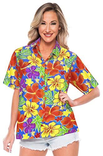 LA LEELA Women Plus Size Outwear Regular Fit Hawaiian Shirts for Women Printed B