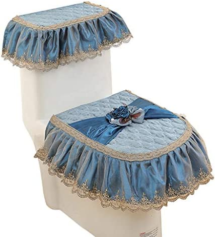 トイレカバーセット、加熱便座、レースのバスルームの装飾タンクカバートイレのふたカバートイレ、3本セット (Color : Blue)