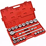 21 Pcs 3/4'' Drive Repair Socket Wrench Tools Set Chrome Plated Metric Truck HD Drop Forged Steel