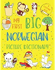 My First Big Norwegian Picture Dictionary: Two in One: Dictionary and Coloring Book - Color and Learn the Words - Norwegian Bilingual Book for Kids