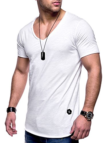 Tops T-Shirt Polo Muscle Casual Tee (White, XXL) ()