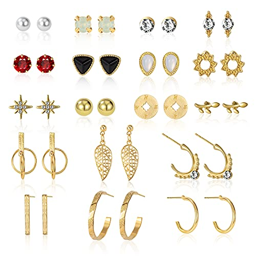 CHANBO Women's 18 Pairs Stud Earrings Gold Silver Metal Small Metal Geometric Round Pearl Earrings
