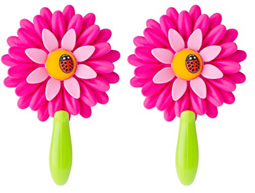 (Vigar Flower Power Hook with Suction, 4-3/4-Inches Long, 2-Pack, Pink)