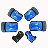 iTECHOR 6Pcs Breathable Protective Gear Kit Child Sport Safety Body Gear Set for Skating Bicycling Protection - Blue S