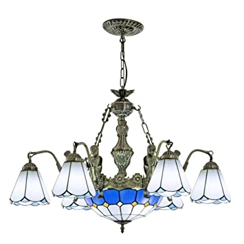 LIXDD Lámparas de araña de Estilo Tiffany, vidrieras Azules ...