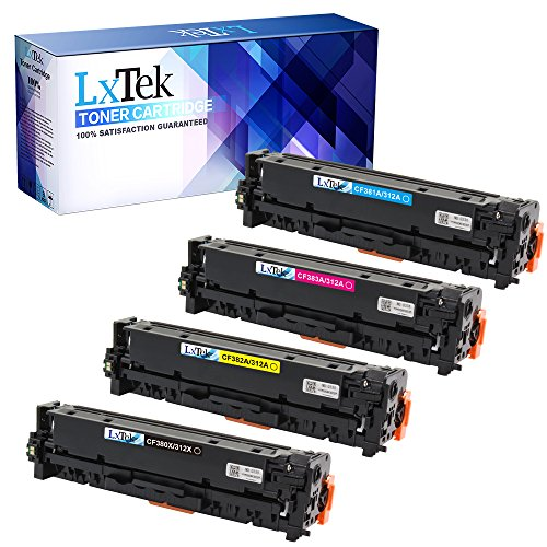 LxTek Compatible Toner Cartridge Replacement For HP 312X 312A (1 Black 1 Cyan 1 Magenta 1 Yellow) 4 Pack HP CF380X CF381A CF383A CF382A For HP Color LaserJet Pro MFP M476dn, M476nw, M476dw Printer