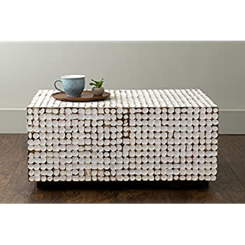 East at Main Covington White Coconut Shell Inlay Rectangle Coffee Table, (35x24x16)
