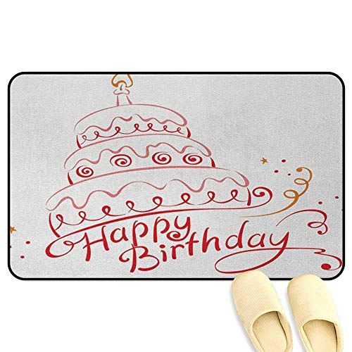 homecoco Birthday Non-Slip Standing Mat Birthday Cake with Spirals Swirls Curly Ornaments Surprise Party Art Print Red Yellow Coral Kitchen Decor mats W31 x L47 INCH -