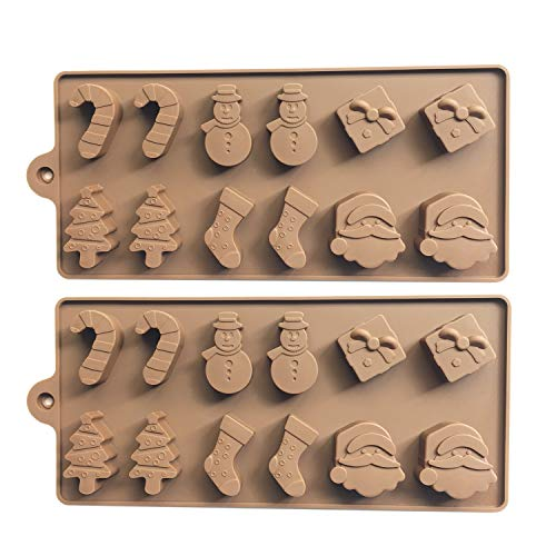 2pcs Christmas Silicone Chocolate Molds for Baking Candy Jelly Cookies, Christmas Tree Snowman Santa Head(6 Shapes)