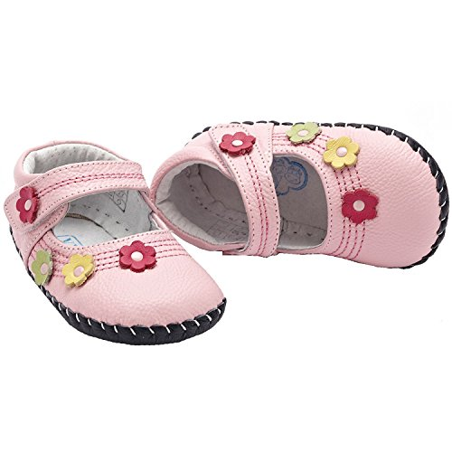 YXY - Zapatos de bebe primeros pasos de cuero niñas   Rosa pequeñas flores Rosa