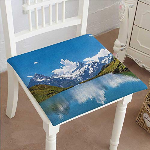 (Mikihome Indoor/Outdoor All Weather Chair Pads Dreamy View of Alpine with Snow Frozen Peaks Swiss Northern Explore Blue Green White Seat Cushions Garden Patio Home Chair Cushions 22