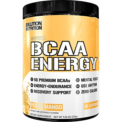 Evlution Nutrition BCAA Energy - High Performance Amino Acid Supplement for Anytime Energy, Muscle Building, Recovery and Endurance, Pre Workout, Post Workout (Peach Mango, 30 Servings)