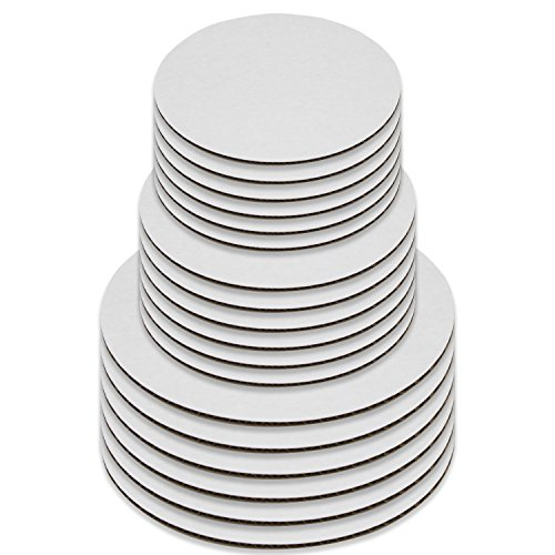 18 Cake Boards, White Round Cake Circle Base - 8, 10 and 12 inch, 6 of Each -