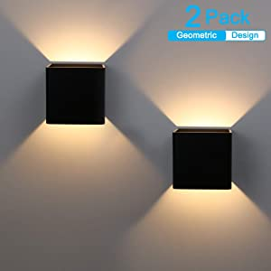 Ralbay LED Modern Black Indoor Wall Sconce 2-Pack 10W Modern LED Aluminum Wall Mounted Light Fixture Lamps Up and Down Wall Sconce for Indoor Living Room Bedroom Hallway (Warm White Light, 3000K)