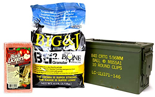 (Big & J BB2 Granular Long Range Deer Feed/Attractant - 6 LB & Evolved Habitats Buck Lickers Apple Flavored Salt Brick - 4 LB Bundle Set & US Military Previously Issued 50-Caliber Ammo Box (3 Items))