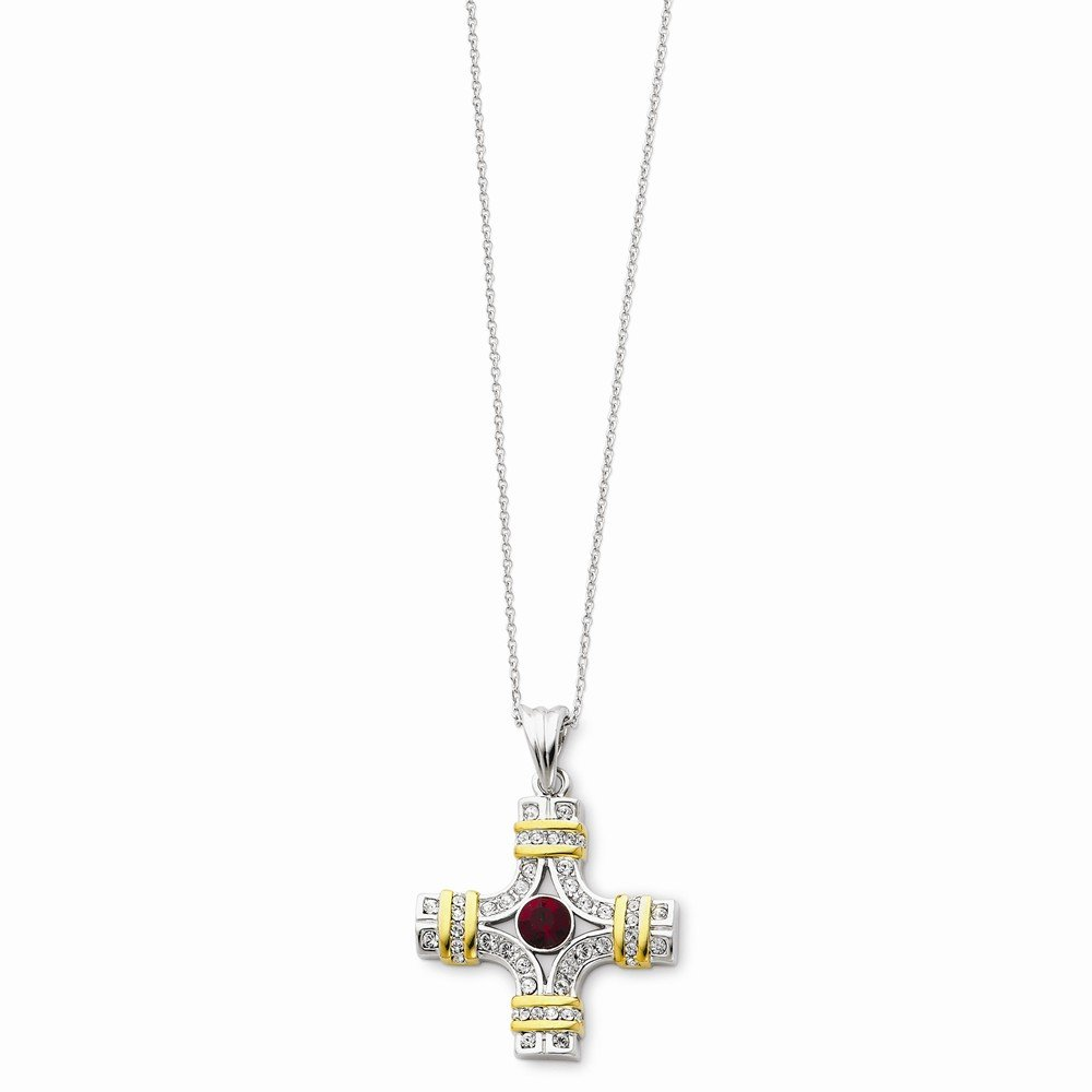 Sterling Silver /& Gold-plated Red /& Clear Cz Wisdom 18in Necklace
