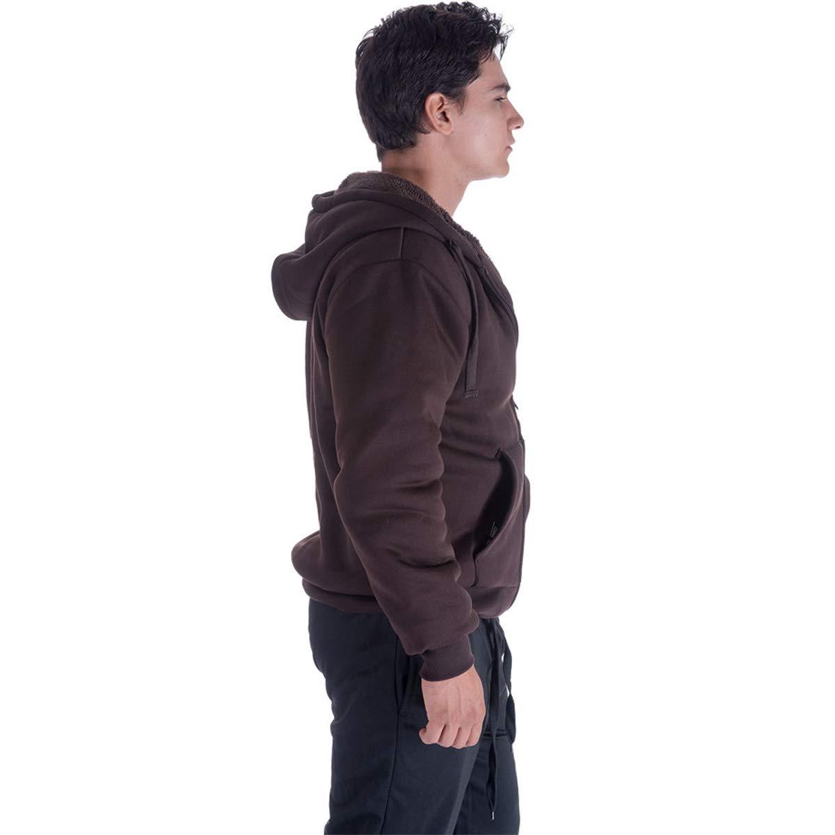 Leehanton Mens Zip Up Hoodie Sherpa-Lined Heavyweight Winter Sweatshirt Jackets