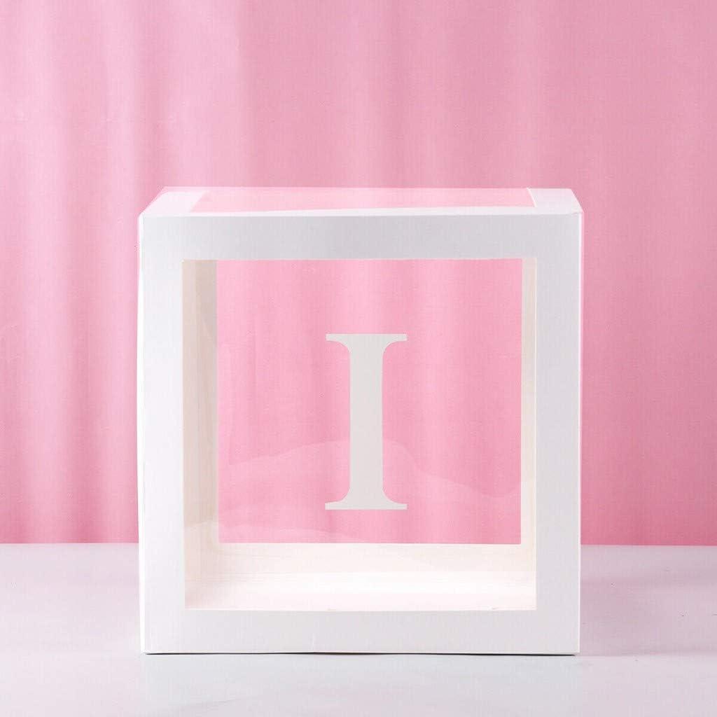 Newdiva DIY Transparent Box Latex Balloon Baby Blocks for Boy Girl Baby Shower Wedding Birthday Party Decoration Backdrop W