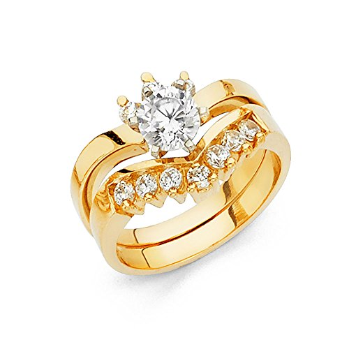Jewels By Lux 14K Yellow Gold Ring Round Cubic Zirconia CZ Duo Set Size 8
