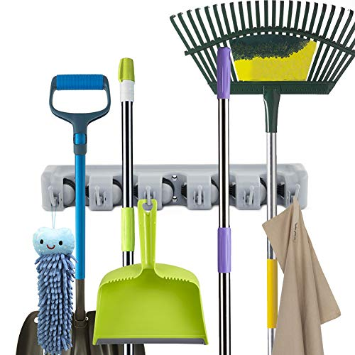 Mop and Broom Holder, Multipurpose Wall Mounted Organizer Storage Hooks Broom Hanger for Home Kitchen Garden and Garage, 5 Position with 6 Hooks from Orangehome