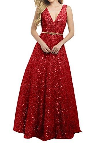 Avril Robe Sequins Eelegant À Double V Bandoulières Longueur De Plancher Rouge Robe De Soirée