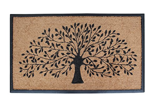 N Tree Of Life Rubber and Coir Double Doormat   30 x 48 Inch   Standard Double Doormat  Large Size Doormat  Rubber Backed   Outdoor Mat   Durable and Long Lasting (Athletic Shoe Collection)