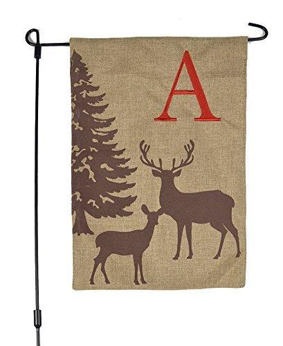 JEC Home Goods Home Garden Flags Monogram - Garden Flags Winter Deer & Snow Scene on Burlap - 12.5 x 18 (Letter E)
