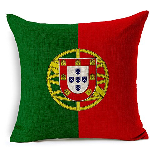 RFVBNM Cushion Covers,World Flag, Cotton Linen Home Decor Garden Outdoors Furniture Accessories Cushions Sofa Chair Car Bay Window Decoration Pillow Case (Cushion Covers Set of 2 - Gold Portugal Hot