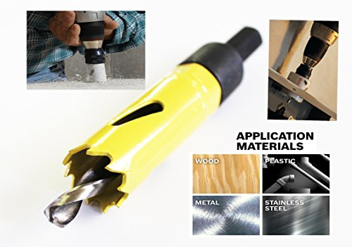"""Max-Craft High Speed M42 Bi-Metal Hole Saw 3/4 """" Inch,19mm With Arbor and Pilot Center Drill Bit With Edge Welded For Heavy Duty Cutting Holes in Steel, Wood, Plastic. (3/4 Inch) ()"""