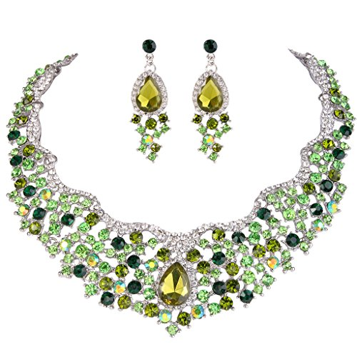 Crystal Cluster Drop Necklace - EVER FAITH Women's Austrian Crystal Flower Cluster Teardrop Necklace Earrings Set Green Silver-Tone