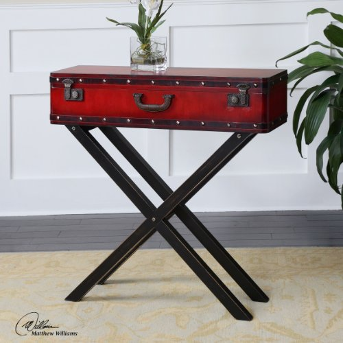 Uttermost Taggart Red Console Table with Antiqued Red Simulated Trunk On A Rubbed Black