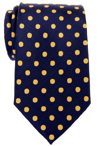 (Retreez Classic Polka Dots Woven Microfiber Men's Tie - Navy Blue with Yellow Dots)