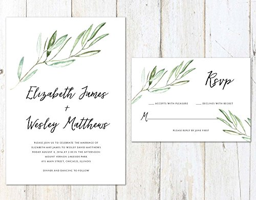 Tuscan Wedding Invitation, Rustic Wedding Invitation, Watercolor Olive Branches, Vineyard Wedding by Alexa Nelson Prints
