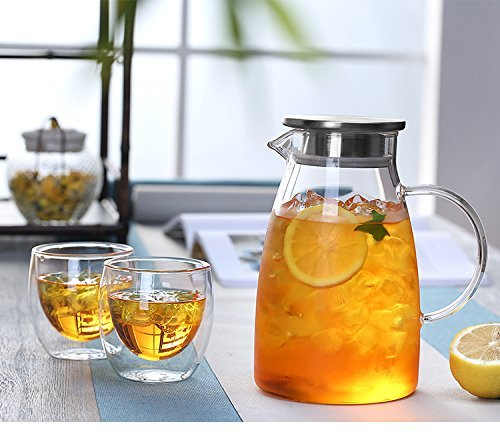 JIAQI 68 Ounces Glass Pitcher with Stainless Steel Lid, Hot/Cold Water Jug, Juice and Iced Tea Beverage Carafe by JIAQI (Image #8)