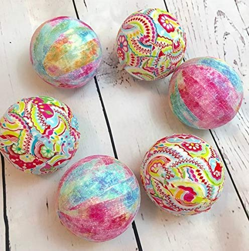 - Spring Easter Paisley Fabric Wrapped Balls Orb Set- bowl filler